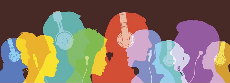 Silouhettes listening to headphones