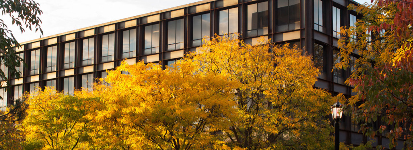 Uris Hall in the fall